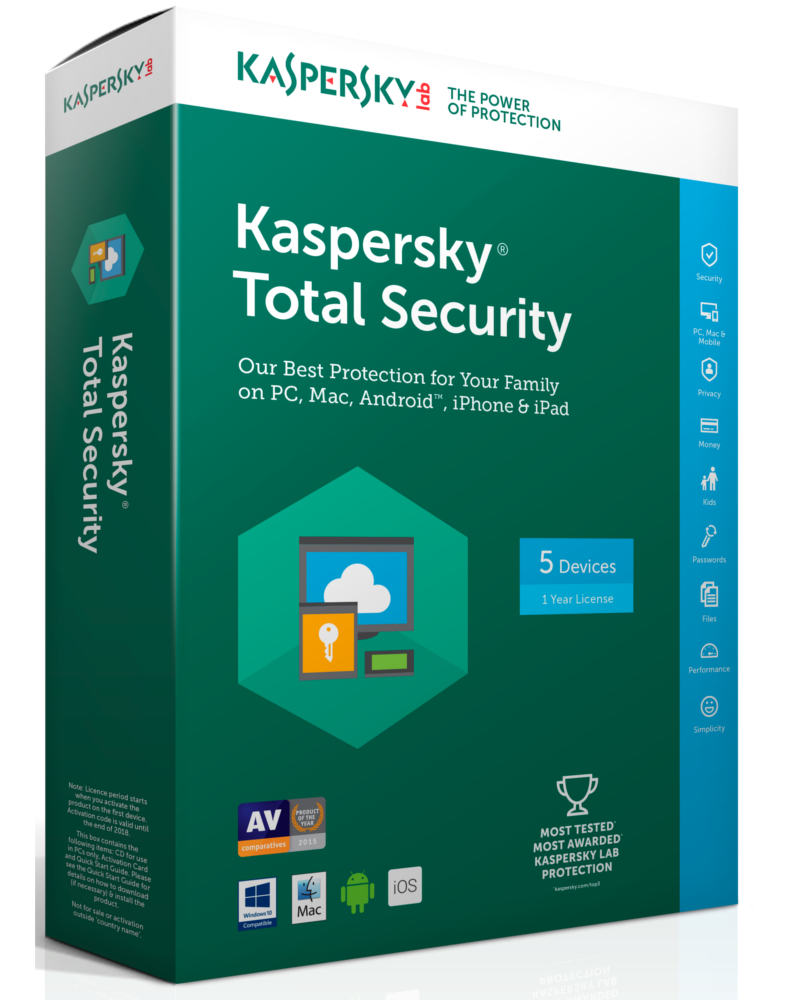Kaspersky Total Security 2018 (1 year - 5 devices)